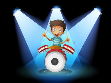 Ilustración de un joven baterista en el medio del escenario Foto de archivo - 25852907