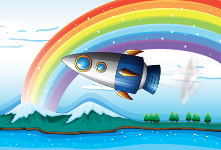 Illustration of a spaceship near the rainbow above the ocean Stock Vector - 25852909