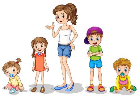 bebe gateando: Ilustración de una madre con sus cuatro hijos en un fondo blanco