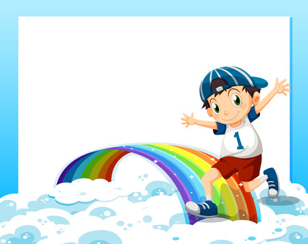 above the clouds: Illustration of an empty template with a boy playing above the clouds and the rainbow