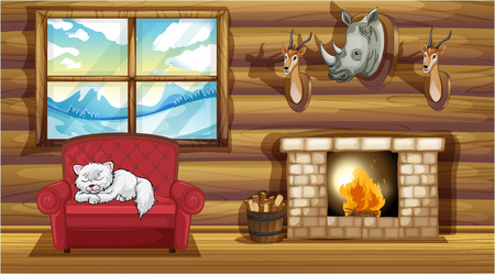 Illustration of the stuffed head decorations at the living room near the fireplace Illustration