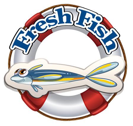 Illustration of a fresh fish label on a white background Illustration