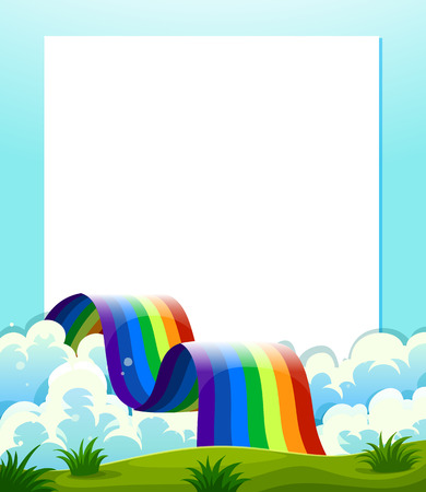 Illustration of an empty paper template with a rainbow at the bottom Vector