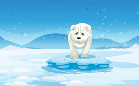 from above: Illustration of a sad polar bear standing above the iceberg