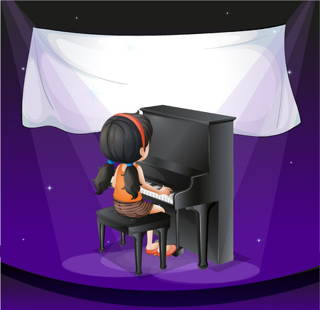 Illustration of an empty banner near the girl playing with the piano Vector