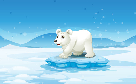 Illustration of a white bear standing above the iceberg