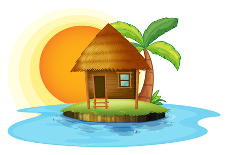 Illustration of an island with a small hut on a white background Vector