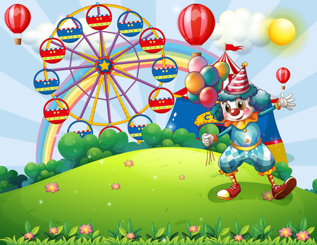 hilltop: Illustration of a clown at the hilltop with an amusement park and a rainbow
