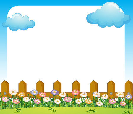 fenced: Illustration of an empty paper template with a garden and clouds