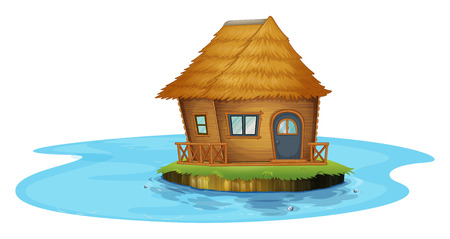 Illustration of an island with a small house on a white background Vector