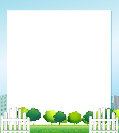 menu land: Illustration of an empty paper with trees at the bottom Illustration