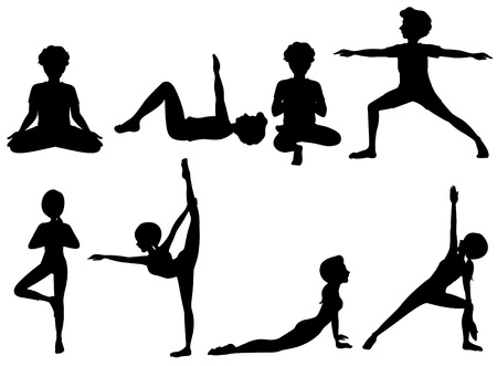 Illustration of the silhouette of people exercising on a white background Vector