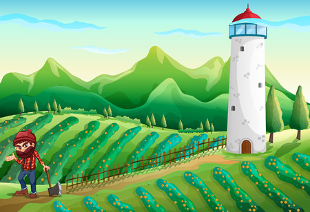 Illustration of a farm with a lumberjack and a tower Illustration