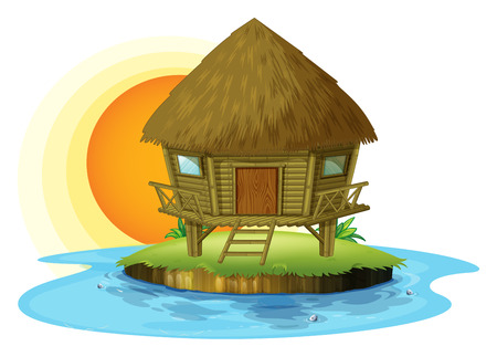 Illustration of a nipa hut in an island on a white background Vector