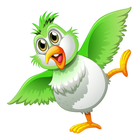 Illustration of a playful bird on a white background Vector