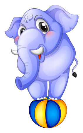 Illustration of an elephant above the bouncing ball on a white background Vector
