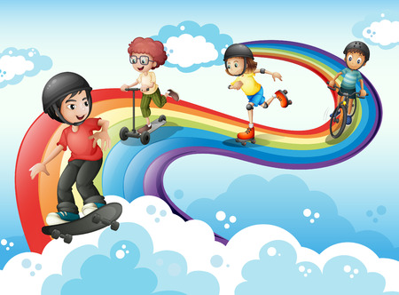 Illustration of the kids in the sky playing with the rainbow Vector