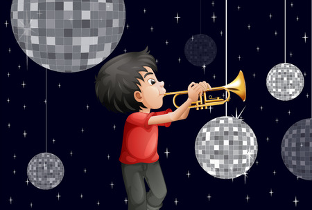 Illustration of a musician surrounded with disco balls Vector