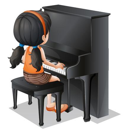 예행 연습: 흰색 배경에 피아노와 함께 연주 어린 소녀의 그림 일러스트