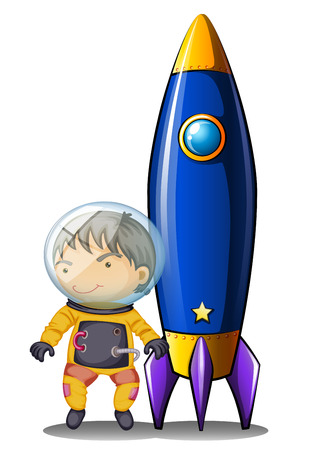 Illustration of an astronaut with an orange suit standing beside the spaceship on a white background Illustration