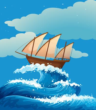 Illustration d'un navire au-dessus des vagues géantes Vecteurs
