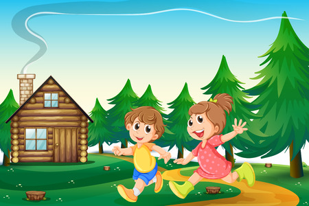 outside the house:  Illustration of the kids playing outside the wooden house at the hilltop