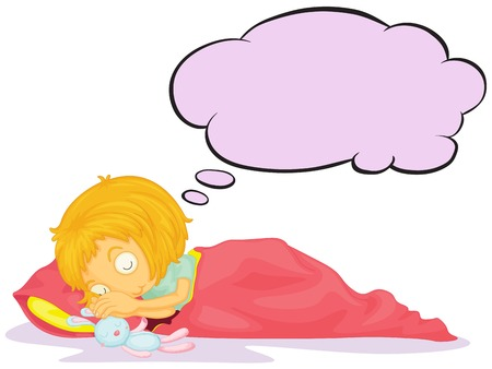 Illustration of a girl dreaming with an empty callout on a white background Vector