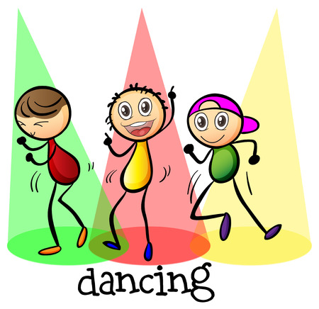예행 연습: 흰색 배경에 춤 세 사람의 그림