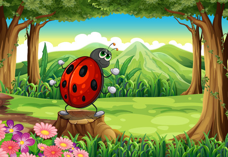 Illustration of a ladybug at the forest standing above the stump