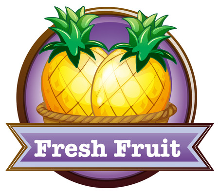 labelling: Illustration of a fresh fruit label with pineapples on a white background Illustration