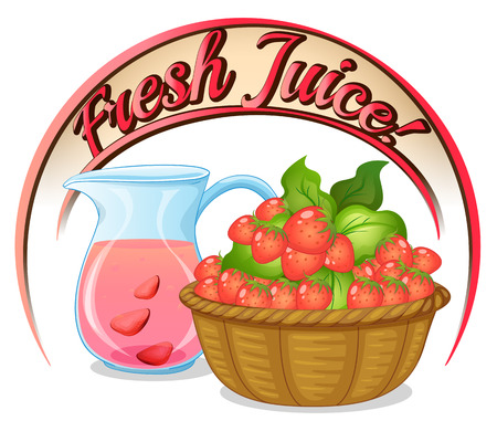 Illustration of a fresh juice label with a basket of strawberries on a white background Vector