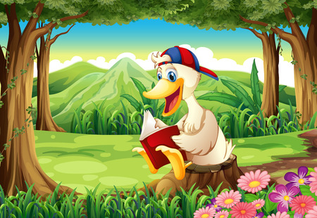 Illustration of a duck at the forest reading Vector