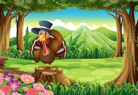 caruncle: Illustration of a turkey at the forest standing above the stump