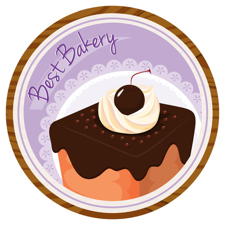 Illustration of a best bakery label with a cake on a white background Vector