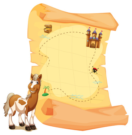 quest: Illustration of a treasure map beside the smiling horse on a white background Illustration