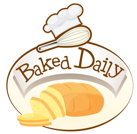 labelling: Illustration of a baked daily label with bread on a white background Illustration