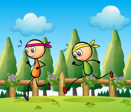 Illustration of the stickmen running
