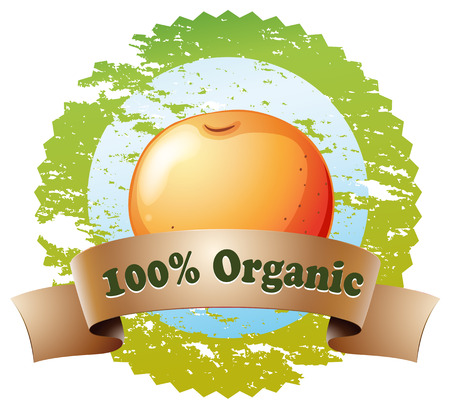 labelling: Illustration of a pure organic label with an orange on a white background Illustration
