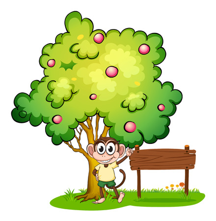 Illustration of a monkey under the tree beside the empty wooden signboard on a white background Vector