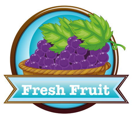 labelling: Illustration of a fresh fruit label with a basket of grapes on a white background