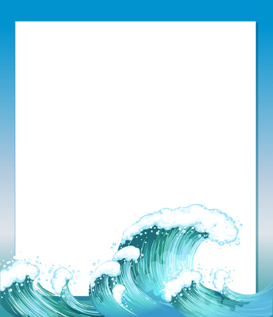 Illustration of an empty paper template with waves at the bottom