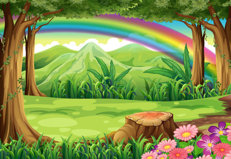Illustration of a rainbow and a forest Vector