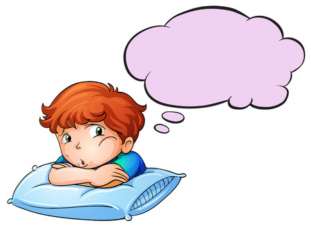 Illustration of a young boy leaning over the pillow with an empty callout on a white background Vector