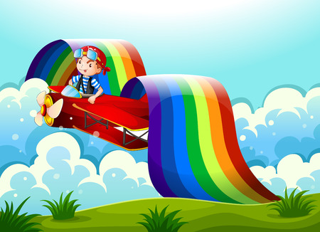 Illustration of a plane with a young boy and a rainbow in the sky Vector
