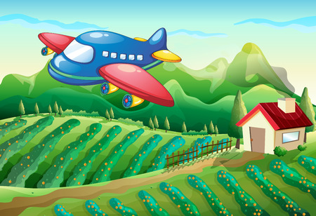 Illustration of an airplane above the farm with a house Illustration