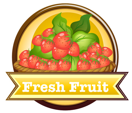 strawberies: Illustration of the fresh fruit label on a white background