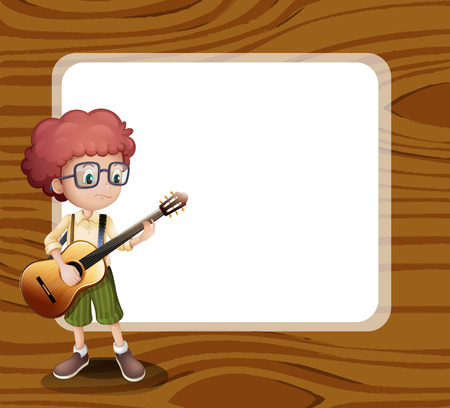 plucking an instrument: Illustration of a boy with a guitar standing in front of the empty template