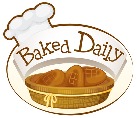 canasta de pan: Ilustración de una etiqueta de panadería sobre un fondo blanco