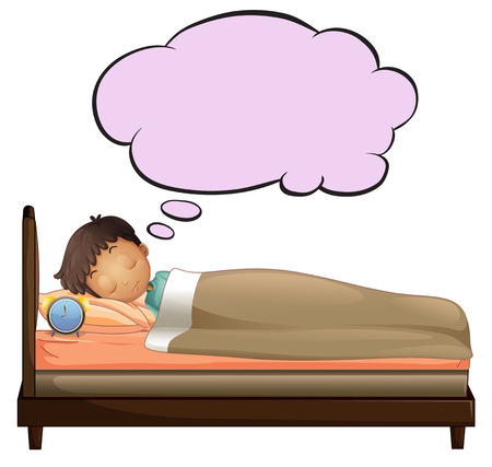 sleeping child: Illustration of a young boy with an empty thought while sleeping on a white background