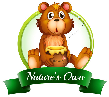 natures: Illustration of a natures own label with a bear on a white background